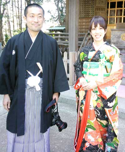 結婚式の本振袖と男袴