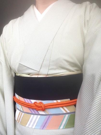 こんな着物コーディネイト…若草色の塩沢紬