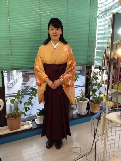 女袴のお着付けの様子