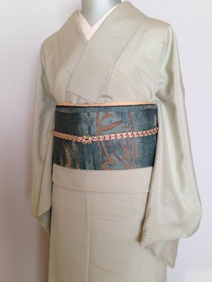こんな着物コーデ…若草色の塩沢紬で帯遊び