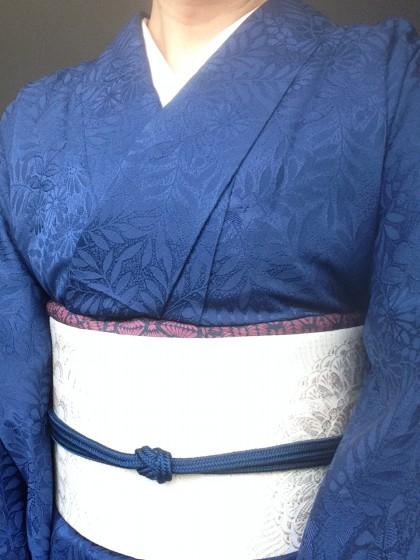 こんな着物コーディネイト…紺の色無地に博多帯