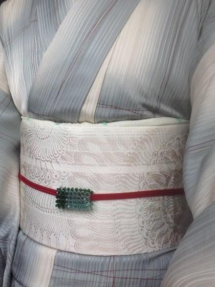 こんな着物コーディネイト…単衣のきものに赤い三分紐で