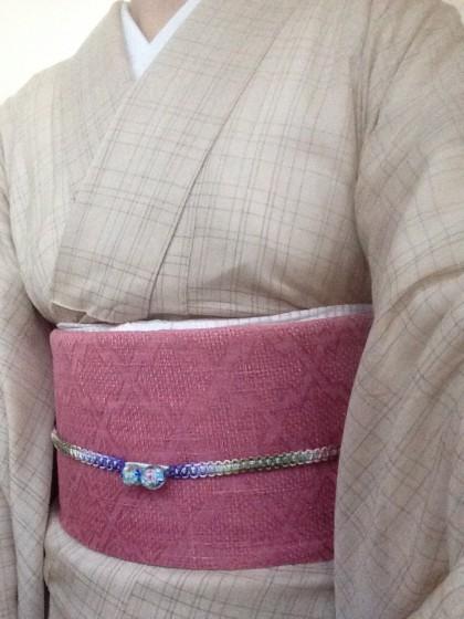 こんな着物コーディネイト…柿渋染めの夏物に帯屋捨松の帯