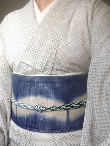 こんな着物コーディネイト…絹紅梅に麻の帯