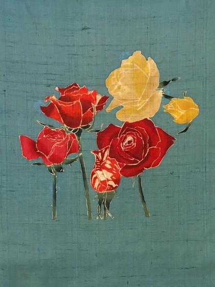 こんな着物コーディネート…白地の紬に薔薇の帯